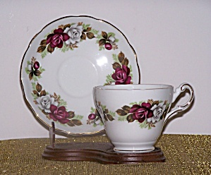 Regency Cup & Saucer, Red & White Roses