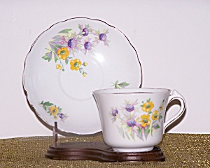 COLCLOUGH CUP & SAUCER, YELLOW & WHITE FLOWERS (Image1)