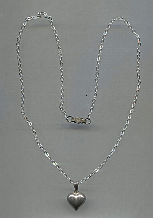 Silver Puff Heart On Sterling Silver Chain Necklace
