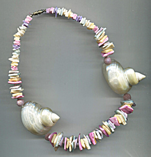 Multi-colored Shell Shards & 2 Lg. Shells Necklace