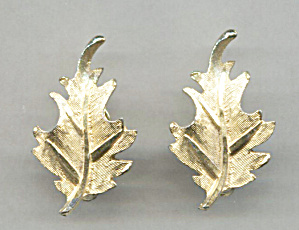 B.s.k. Gold Tone Leaf Earrings