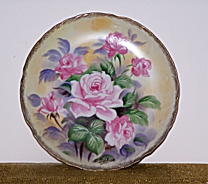 ARTIST SIGNED, HAND PAINTED PINK FLOWERS PLATE (Image1)