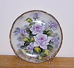 ARTIST SIGNED, HAND PAINTED LAVENDER FLOWERS PLATE (Image1)