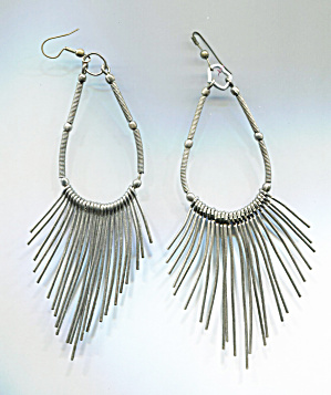 Long Silver Hoop Earrings W/strands Of Silver Rods