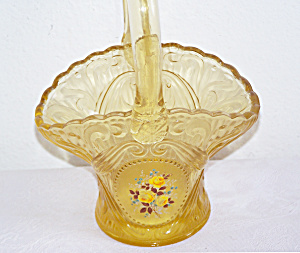 YELLOW GLASS BASKET W/FLOWERS (Image1)