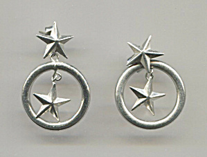 2 Silver Tone Stars, Open Circle, Pierced Earrings