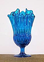Blue Glass Vase, Flared Rim
