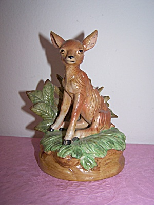 A Fawn Deer Siting on Green Grass Music Box (Image1)
