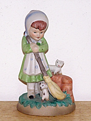 GIRL WITH CATS SWEEPING (Image1)