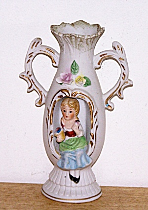 CUT OUT BISQUE VASE, 3-D  SEATED GIRL (Image1)