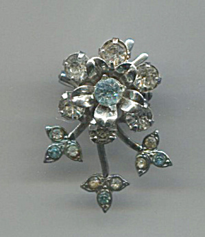 Blue & Clear Rhinestones Flower In Silver Tone Pin