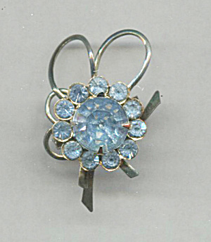 Light Blue Rhinestone Pin, Large Center Stone