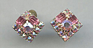 Pink Glass Rhinestones, Square Screw-back Earrings