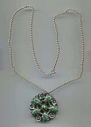 Plastic Green Ovals Set In Silver Pendant On Chain
