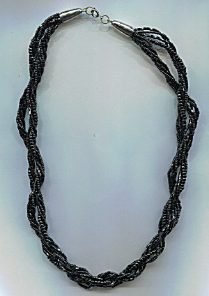 Jet Black Twisted Glass Beads Necklace