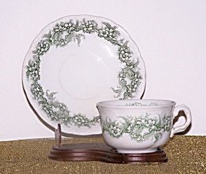 MEAKIN CUP & SAUCER, GREEN FLOWERS (Image1)