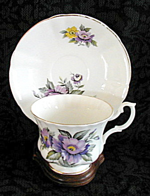 Royal Imperial Lavender Flowers Cup & Saucer