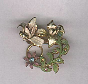 AUSTRIA WITH FLOWERS & GREEN LEAVES PIN (Image1)