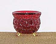 RED DAISY & BUTTON 3 LEG GLASS BOWL (Image1)