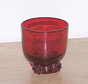 Small Red Glass Footed Vase