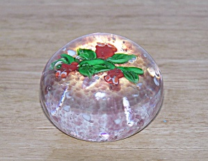 Red Flowers, Green Stems Glass Paperweight