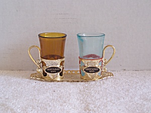Tray with 2 GLASSES in Holders-Souvenir of OPRYLAND USA (Image1)
