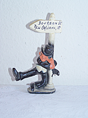 Cast Iron Drunk Leaning On Post, Louisiana Souvenir