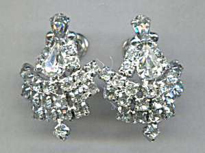 Large Clear Rhinestone Screw-back Earrings