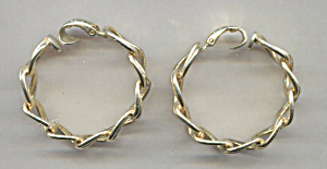 L.h. Segal Gold Tone Hoop Clip-back Earrings