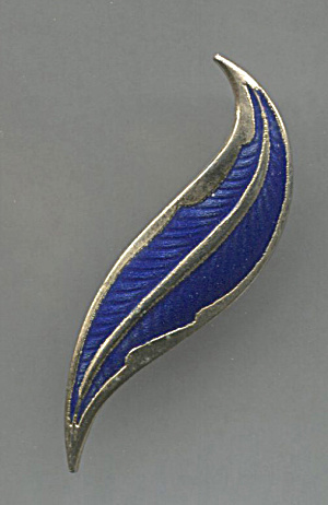 Dark Blue Enamel On Gold Tone Leaf Pin