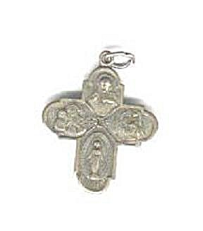 Roman Catholic Four Way Cross Medal Religious At Back