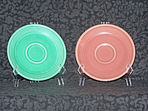 Fiesta Rose And Green Saucers