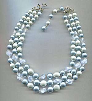 3 Strand Shades Of Blue Beads Plastic Necklace