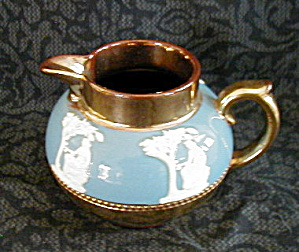 GIBSON GOLD GILT WEDGWOOD BLUE CREAMER (Image1)