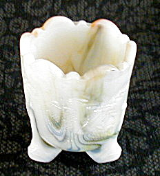 SLAG GLASS TOOTHPICK HOLDER, BERRY DESIGN (Image1)