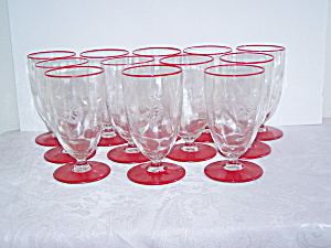 12 RED BASE & RIM ETCHED GLASSES, DECO LOOK (Image1)