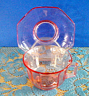 TRANSPARENT PINK GLASS CUP & SAUCER (Image1)
