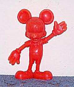 MICKEY MOUSE RED HARD PLASTIC FIGURINE (Image1)