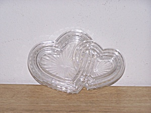 Heavy Glass Double Hearts Trinket Box