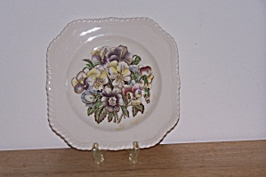Johnson Bros. Square Salad Plate, Old Flower Prints