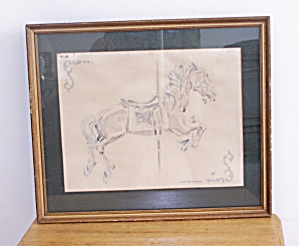 FRAMED CAROUSEL HORSE W/STRIPPED  BLANKET (Image1)