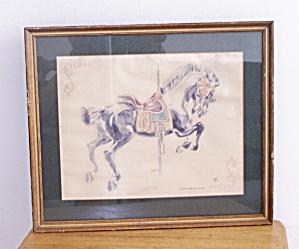 FRAMED CAROUSEL HORSE W/ BLUE BLANKET (Image1)
