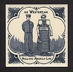 HOLLAND AMERICA LINE, MS WESTERDAM, BLUE ON WHITE TILE (Image1)