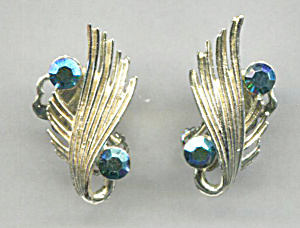 Bsk Turquoise Stones In Silver Tone Clip-back Earrings