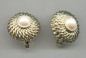 Monet Gold Dome W/ Faux Pearl Center Earrings