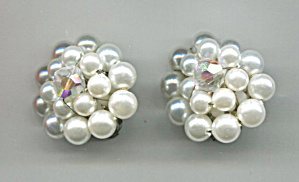 Japan White Plastic Beads Earrings