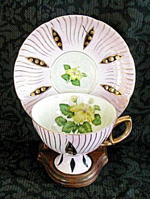 JAPAN PINK & BLACK DECO LOOK CUP & SAUCER (Image1)