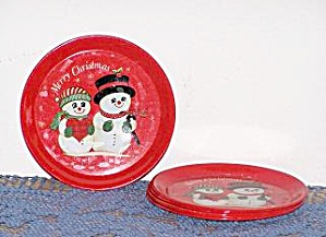 SET OF 6 Mr. & MRS. SNOWMEN METAL COASTERS (Image1)