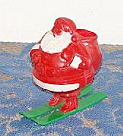 Santa On Skis Plastic Candy Container