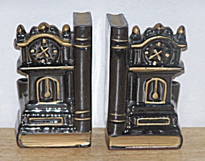 CERAMIC CLOCK & PENCIL HOLDER BOOKENDS (Image1)